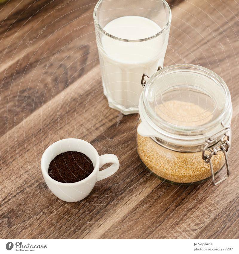 lecker Frühstück weiß braun Glas Lebensmittel Ernährung Lifestyle Getränk süß Kaffee genießen Tasse Milch Espresso Zutaten
