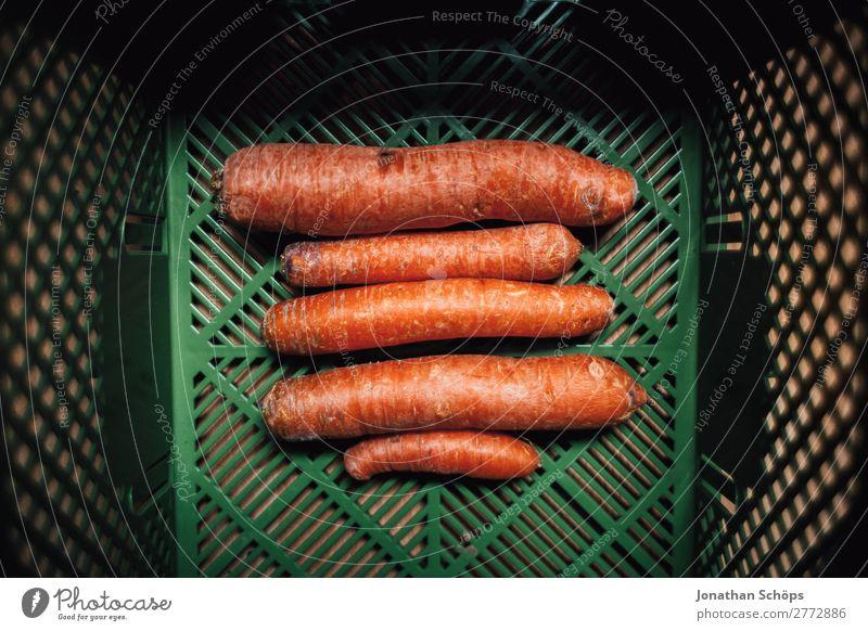 Möhren in der Bio Kiste Lebensmittel Gemüse Ernährung Bioprodukte Vegetarische Ernährung ästhetisch Vegane Ernährung Essen zubereiten mono Diät