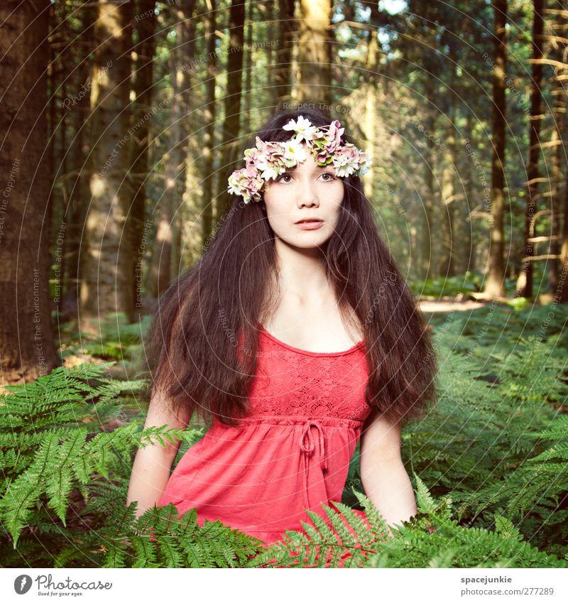In the woods (2) Mensch Frau Jugendliche grün Baum Pflanze rot Blume Erwachsene Wald Landschaft Umwelt feminin Erotik Junge Frau 18-30 Jahre
