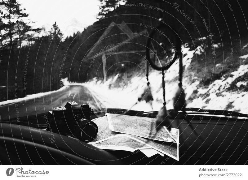 Autoinnenraum. PKW Innenarchitektur Armaturenbrett Hippie Fotokamera Grafik u. Illustration träumen Dekoration & Verzierung heimatlich Handwerk Kultur Glaube
