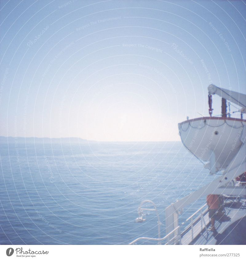 Beiboot Mann Erwachsene Umwelt Natur Luft Wasser Himmel Wolkenloser Himmel Schönes Wetter Wärme Hügel Berge u. Gebirge Küste Meer Insel Italien Elba Schifffahrt
