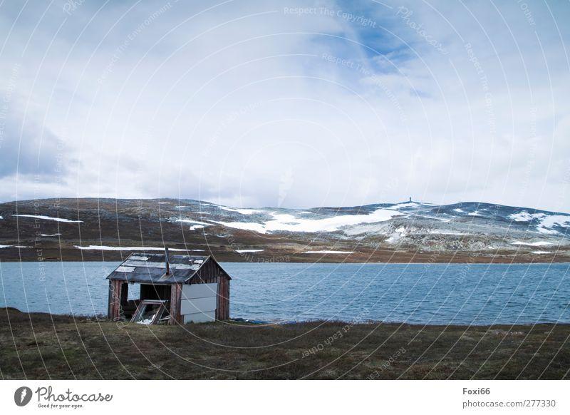 unbekannt verzogen.... Landschaft Wasser Himmel Wolken Frühling Nebel Eis Frost Schnee Berge u. Gebirge Schneebedeckte Gipfel Menschenleer Stein Holz Ferne kalt