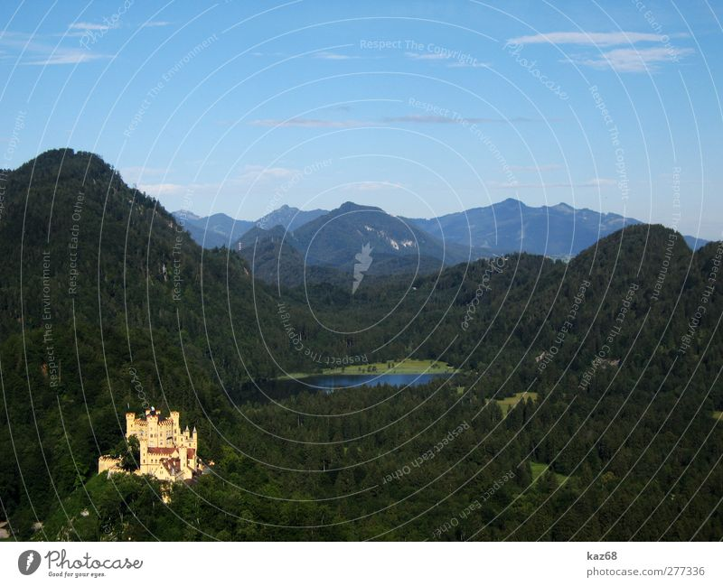 Schloss Hohenschwangau alt Ferien & Urlaub & Reisen Sommer Wald Landschaft Berge u. Gebirge Architektur Gebäude See Felsen wandern Tourismus Ausflug