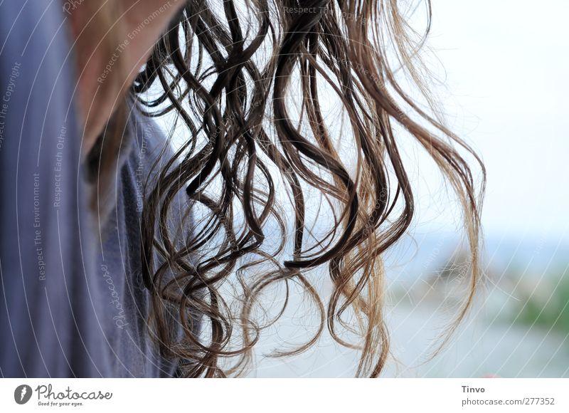 Robinson 1 Mensch T-Shirt Haare & Frisuren brünett langhaarig Locken frisch natürlich blau Freiheit trocknen wehen hängend wellig feucht Farbfoto Außenaufnahme
