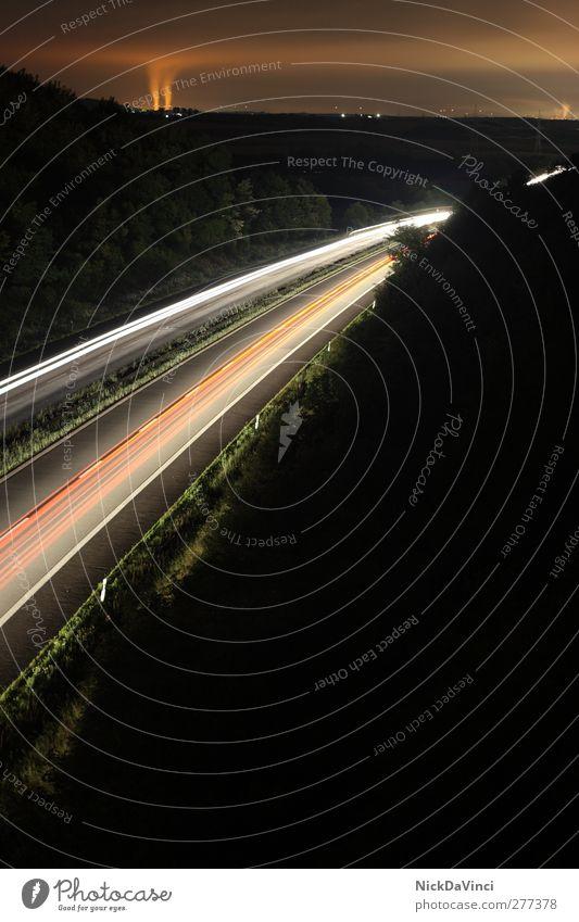 A70@night Natur Ferien & Urlaub & Reisen Wolken Wald Umwelt dunkel PKW hell Feld Energiewirtschaft Verkehr Geschwindigkeit leuchten fahren