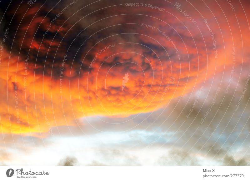 wütender Himmel Umwelt Wolken Gewitterwolken Klima Wetter schlechtes Wetter Sturm Aggression dunkel rot Stimmung Angst gefährlich Wolkendecke orange