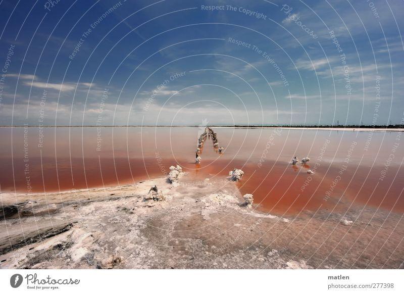 Salzsee Landschaft Wasser Himmel Wolken Horizont Sommer Schönes Wetter Dürre Küste Seeufer blau rot weiß Steppe karg Krim mehrfarbig Außenaufnahme Menschenleer