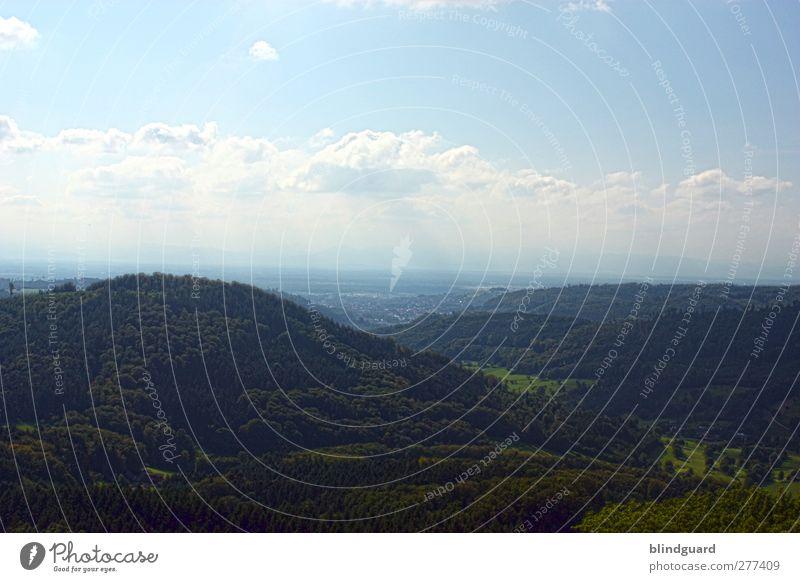 Far Far Away Natur Landschaft Pflanze Himmel Wolken Sommer Schönes Wetter Wildpflanze Wald Hügel Berge u. Gebirge atmen entdecken blau braun grün schwarz weiß