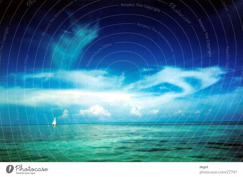 Belize Himmel Meer Sommer Ferien & Urlaub & Reisen Wolken Segelboot Mittelamerika Blauton
