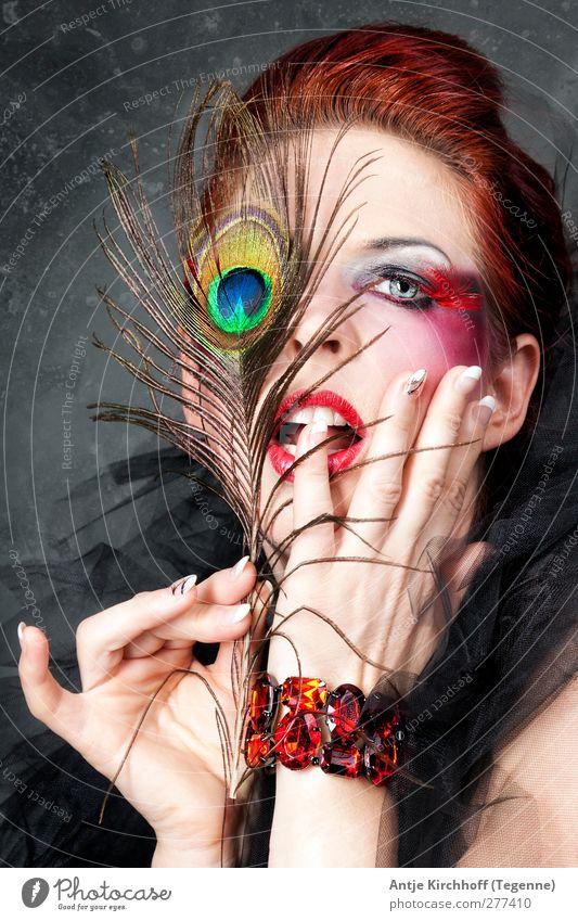 Pfauenauge blau grün schön rot schwarz gelb dunkel Erotik Gefühle Haare & Frisuren Mode außergewöhnlich elegant verrückt Coolness berühren