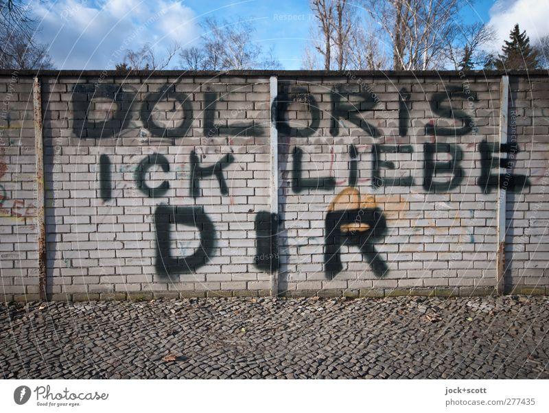 D O L O R I S Wolken Winter Schönes Wetter Baum Kreuzberg Backsteinwand Bürgersteig Graffiti Liebe Glück groß einzigartig positiv trashig Stimmung Leidenschaft