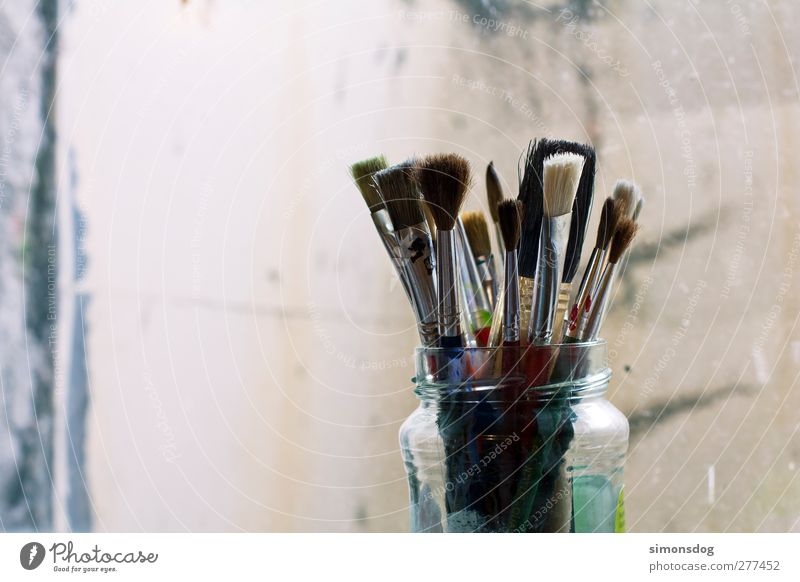 mal mal! Kunst Künstler Maler Farbe Freude Pinsel malen Borsten Behälter u. Gefäße aufbewahren Gemälde gebraucht streichen Farbfoto Gedeckte Farben