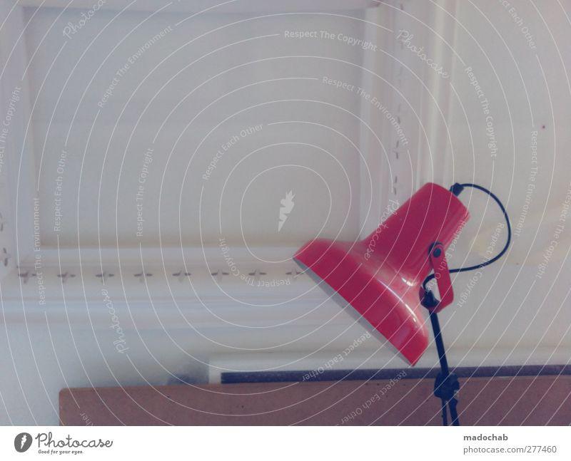 Alleinstellungsmerkmal rot ruhig Innenarchitektur Lampe Häusliches Leben trist einfach Gelassenheit trashig Langeweile geduldig
