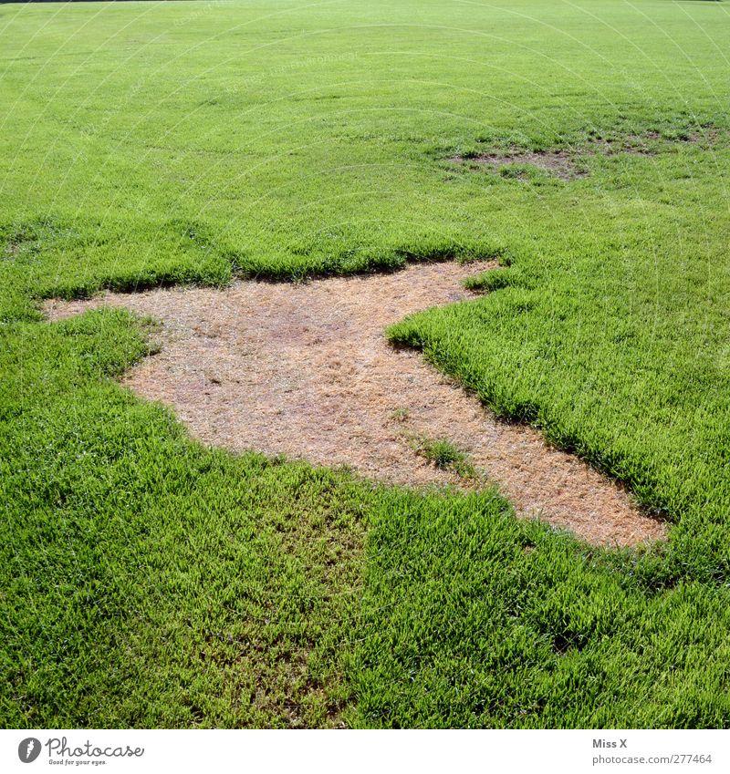 Grasfleck Fußballplatz Natur Wiese kaputt grün Loch Sportrasen Farbfoto Außenaufnahme Muster Menschenleer