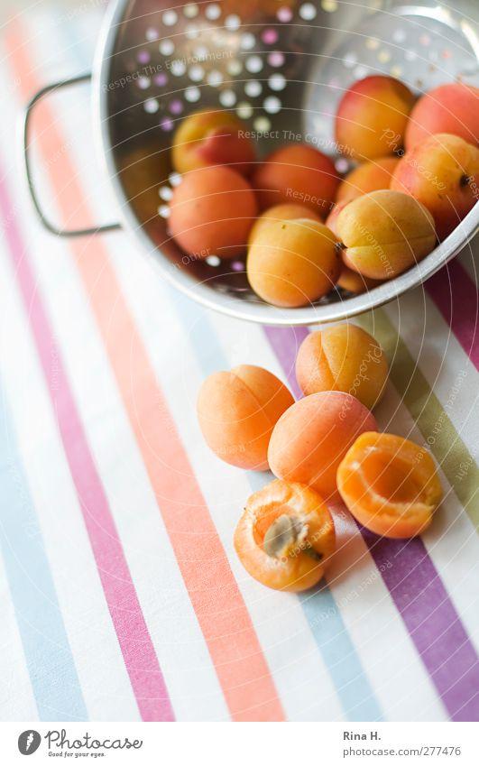 ApriKosen Frucht Aprikose Ernährung Vegetarische Ernährung Sieb fallen frisch Gesundheit hell süß mehrfarbig Vitamin Tischwäsche Streifen Muster gestreift