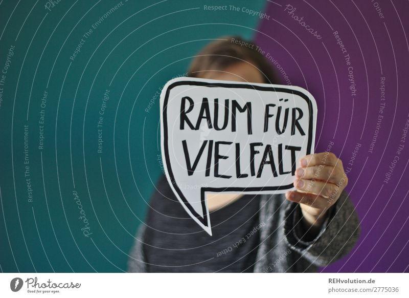 Sprechblase - Raum für Vielfalt Mensch feminin Frau Erwachsene 1 Zeichen Schriftzeichen Schilder & Markierungen Hinweisschild Warnschild festhalten