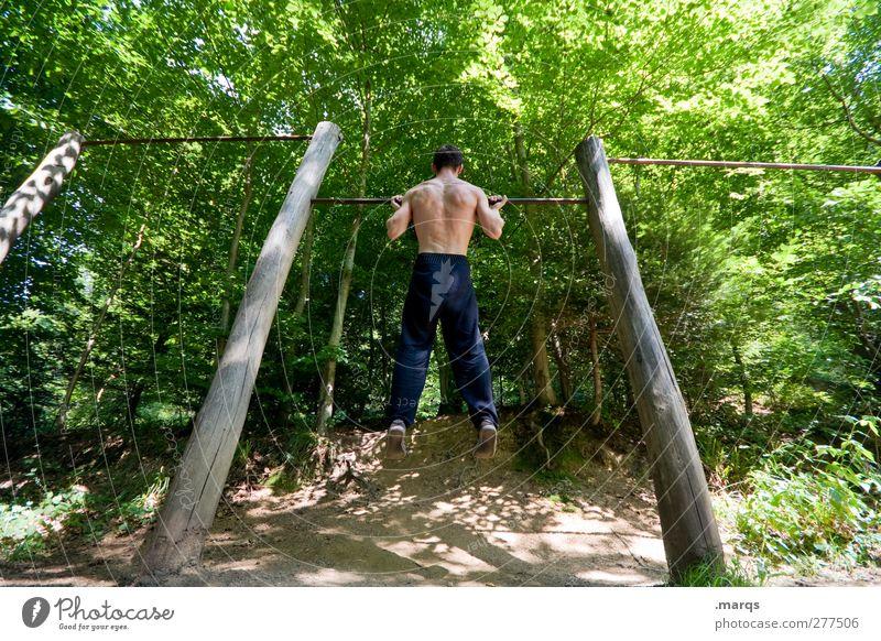 Fit for Fun Mensch Natur Erwachsene Landschaft Sport nackt Kraft maskulin Erfolg Lifestyle Fitness Sport-Training Willensstärke selbstbewußt Sportler Turnen