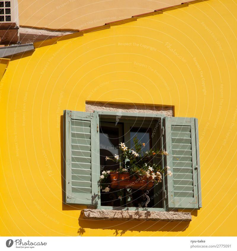 Gelbes Haus mit Fenster gelb Sonne Fensterladen Sommer Blumen Dachschräge Urlaubsstimmung Blumenkasten warm ausschnitt detail