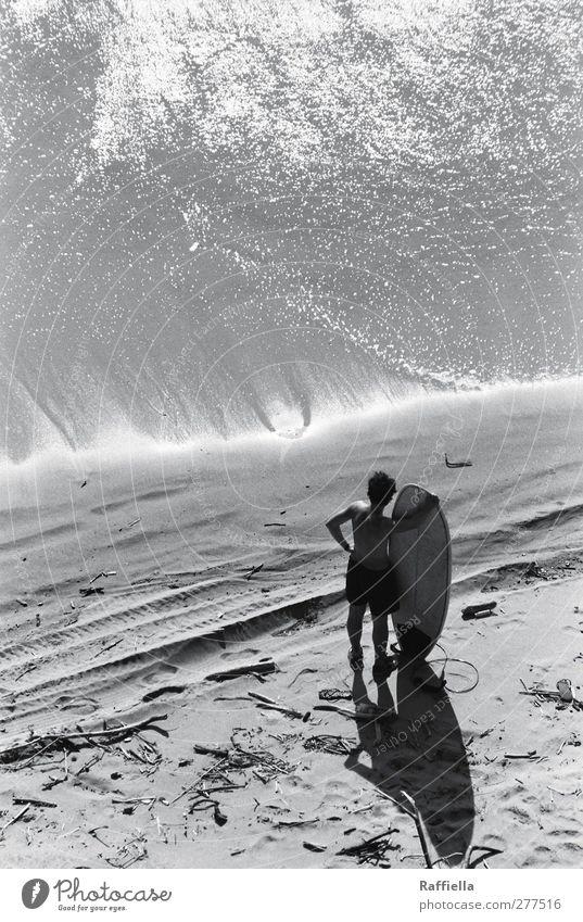 la ola Sport Wassersport maskulin Junger Mann Jugendliche Körper Rücken Arme 1 Mensch 18-30 Jahre Erwachsene Natur Sand Sonnenlicht Sommer Schönes Wetter Küste