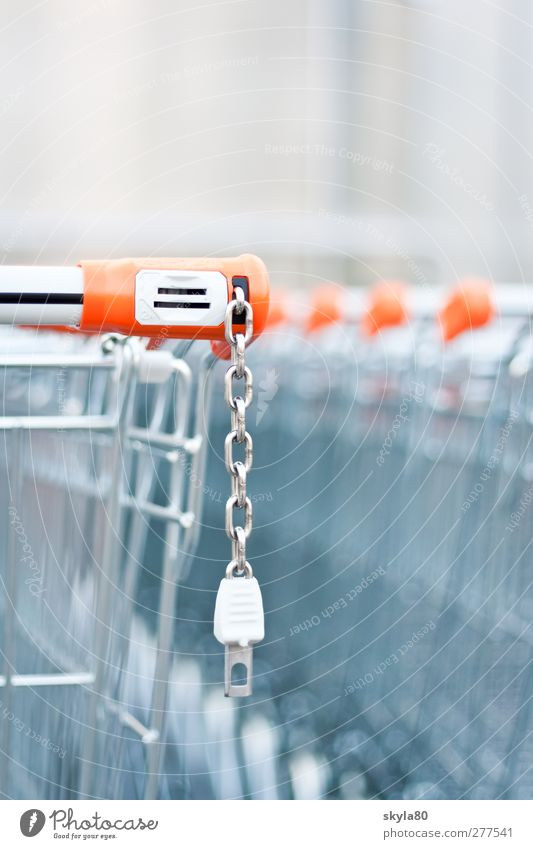Einkaufsbummel Metall kaufen Metallwaren Kunststoff Ladengeschäft Markt schließen Supermarkt Einkaufswagen Handwagen Pfand Drahtkorb