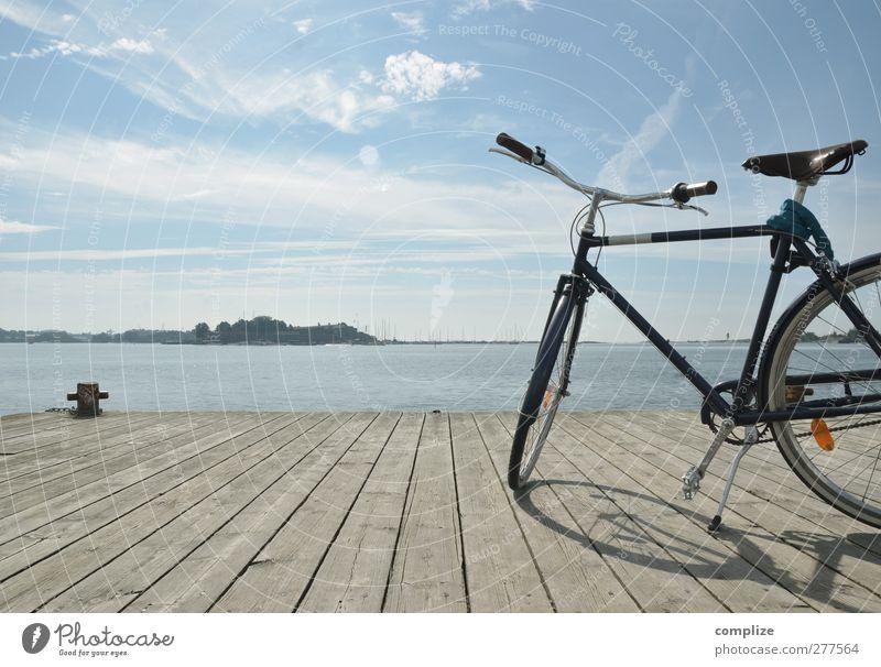 bike Erholung Ferien & Urlaub & Reisen Ausflug Ferne Freiheit Fahrradtour Sommer Meer Insel Anlegestelle Steg Freizeit & Hobby Farbfoto Außenaufnahme Tag