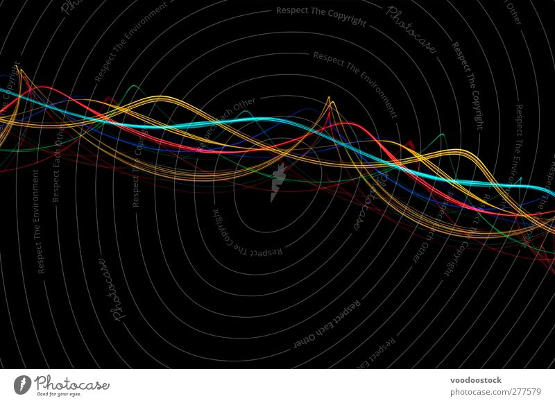 Abstrakte Lichtwellenhintergründe Linie hell gelb rot schwarz türkis Leben Farbe Kreativität verdrehen Kurve Arabesken Borte zyan farbenfroh Linien Verwirbelung