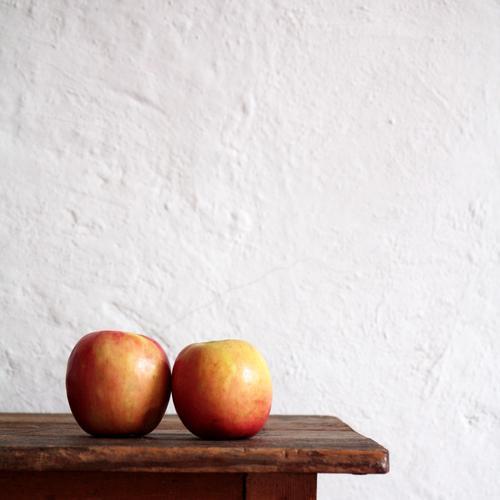 oo Lebensmittel Apfel Obst Frucht Schrank Ablage Mauer Wand Gesundheit rund rot weiß Leidenschaft Verliebtheit Treue Gastfreundschaft geduldig ruhig Sehnsucht