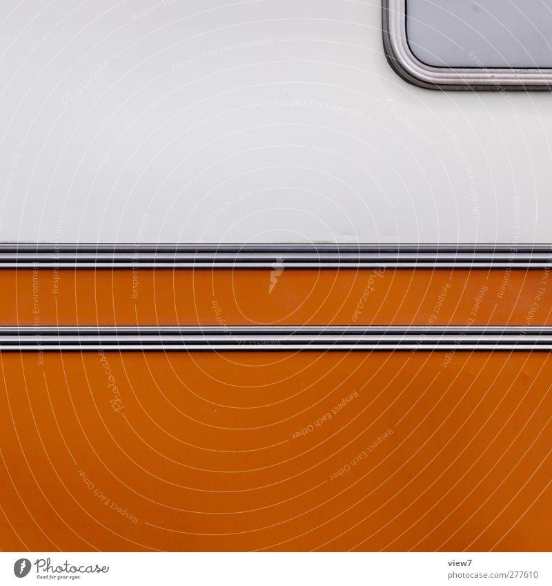 Orange Freizeit & Hobby Verkehr Fahrzeug Wohnmobil Wohnwagen Bauwagen Anhänger Metall Linie Streifen ästhetisch authentisch einfach frisch modern neu weiß