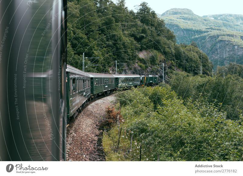 Zugfahrt im grünen Tal Landschaft Eisenbahn Berge u. Gebirge reisend Wald Ferien & Urlaub & Reisen Ausflug Sommer Verkehr Natur Bahn Panorama (Bildformat)