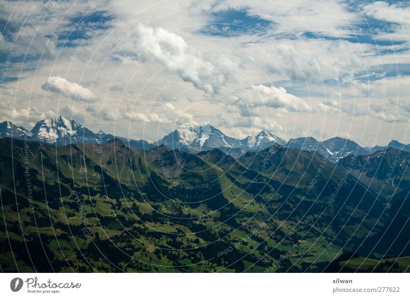 grasig grün > felsig grau > himmlig blau/weiss wandern Natur Landschaft Himmel Wolken Sommer Schönes Wetter Hügel Felsen Berge u. Gebirge Gipfel