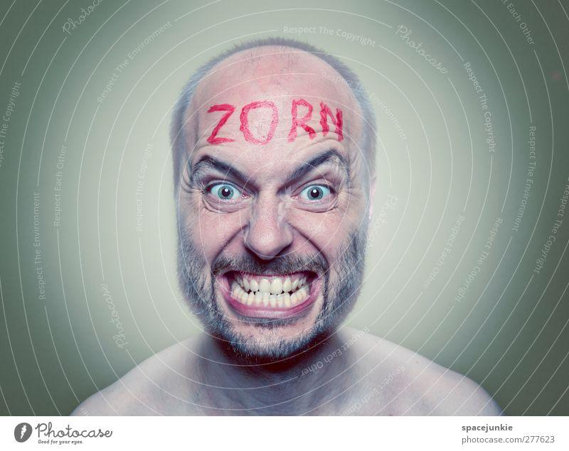 Zorn Mensch Mann Jugendliche blau rot Farbe Erwachsene Junger Mann Kunst außergewöhnlich Angst maskulin Schriftzeichen gruselig Wut Gewalt