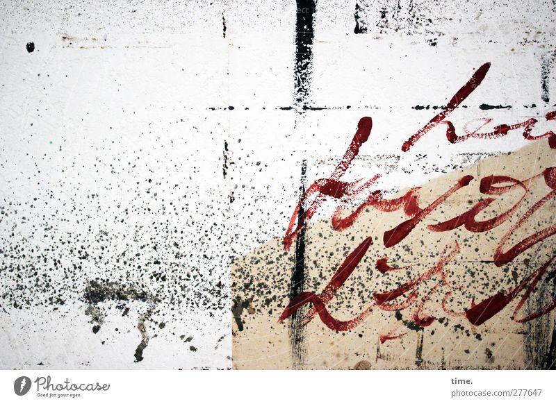 Lebenslinien weiß rot schwarz Wand Mauer träumen Kunst Kraft elegant authentisch Schriftzeichen Vergänglichkeit einzigartig Kreativität Zeichen skurril