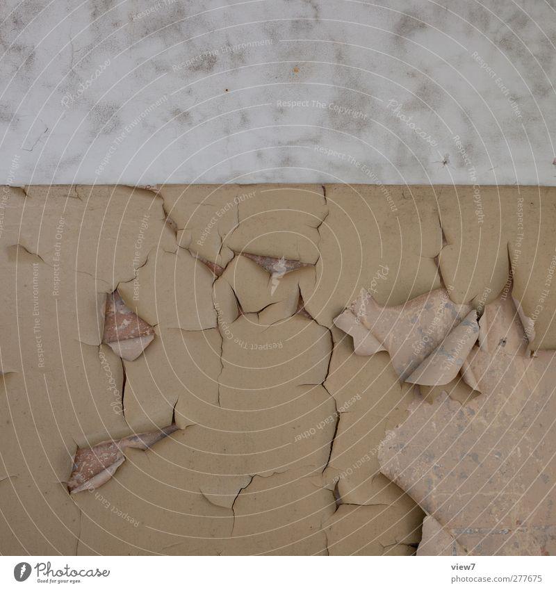 aufgegeben Renovieren einrichten Innenarchitektur Haus Mauer Wand Stein Beton Linie Streifen alt authentisch dreckig einfach retro Klischee braun Ende