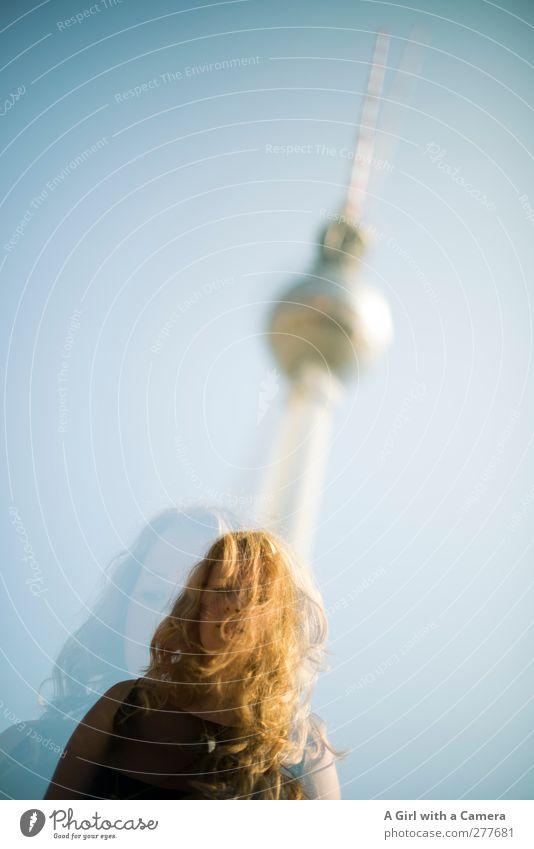 in and around Berlin Mensch Jugendliche Leben Junge Frau Architektur Haare & Frisuren blond einzeln Turm einzigartig Wahrzeichen langhaarig Doppelbelichtung