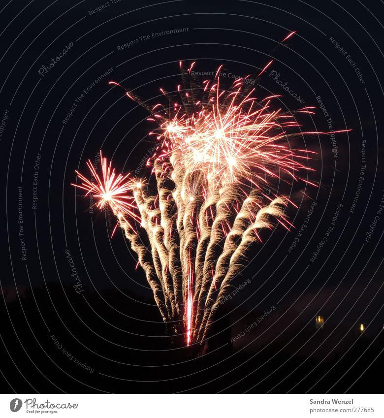 Feuerwerk Nachtleben Entertainment Party Veranstaltung Feste & Feiern Silvester u. Neujahr glänzend gold rosa rot schwarz silber Freude Gedeckte Farben