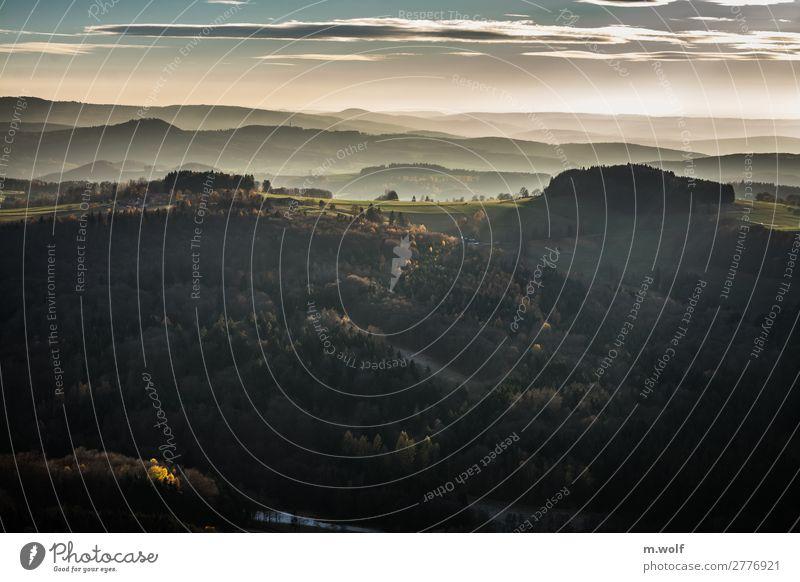 Auenland Ferien & Urlaub & Reisen Tourismus Ausflug Abenteuer Ferne Freiheit Berge u. Gebirge wandern Umwelt Natur Landschaft Herbst Wetter Wald Hügel Blick