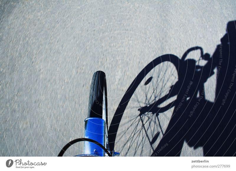 Mietfahrrad Fahrradfahren Verkehr Verkehrsmittel Personenverkehr Straße Wege & Pfade Bewegung Rad Schatten Schutzblech Geschwindigkeit Fahrradtour Ausflug