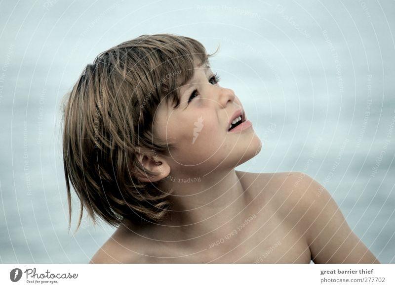 Meer Junge Mensch maskulin Kind Kleinkind Kindheit Leben Haut Kopf Haare & Frisuren Gesicht 1 3-8 Jahre Sommer Ostsee Schwimmen & Baden entdecken Lächeln Glück