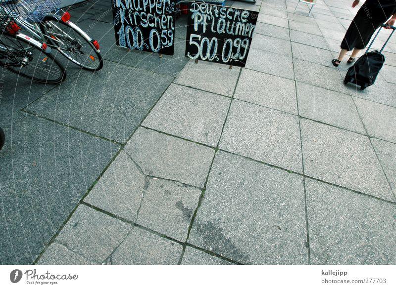 fallobst kaufen Wirtschaft Mensch Frau Erwachsene 1 Fahrrad Bürgersteig Schilder & Markierungen Preisschild Angebot Farbfoto Außenaufnahme Tag Kontrast
