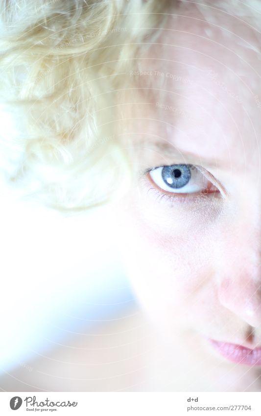 o blond stark Auge hell-blau Regenbogenhaut Porzellan weiß Pastellton Jugendliche Haut Gesicht Reinheit Hautpflege durchschaut hypnotisieren Überbelichtung