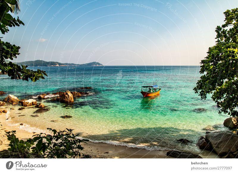 einfach mal die seele baumeln lassen Ruhe Boot genießen Sehnsucht Himmel Strand träumen exotisch Ferne Farbfoto Malaysia Trauminsel Erholung Paradies
