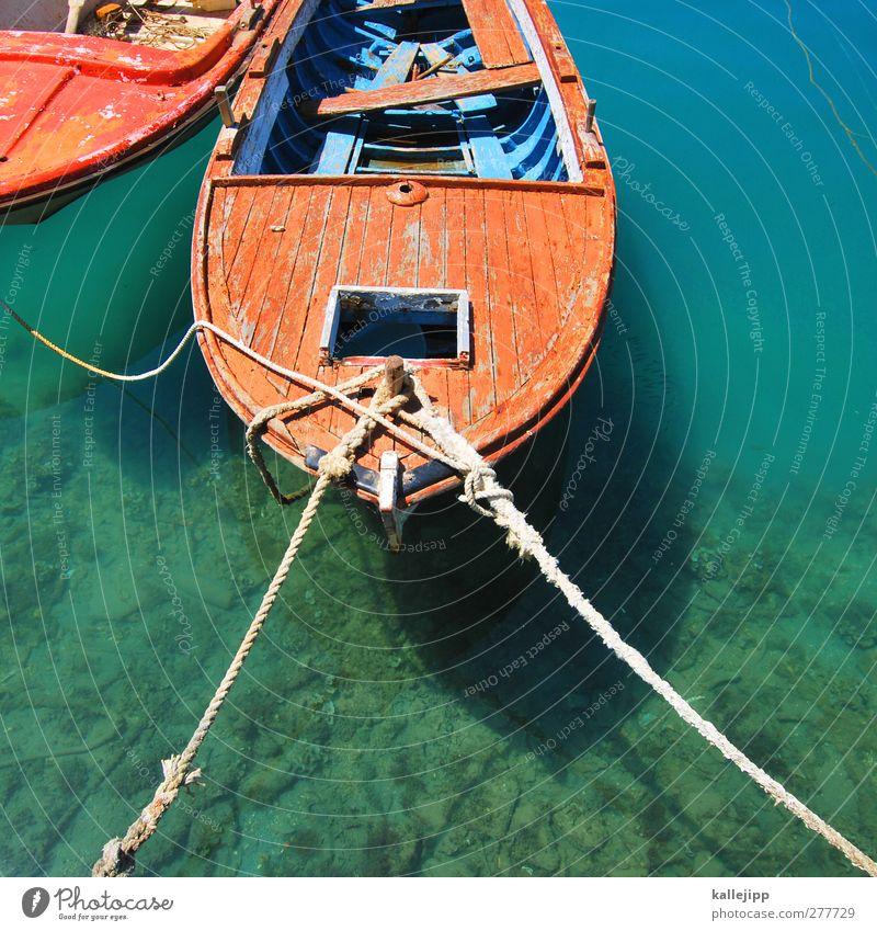 möwenperspektive Wasser Schwimmen & Baden Seil Hafen fest türkis Schifffahrt Heimat Ruderboot Fischerboot Bootsfahrt Beiboot Motorboot Stabilität Adria Liegeplatz