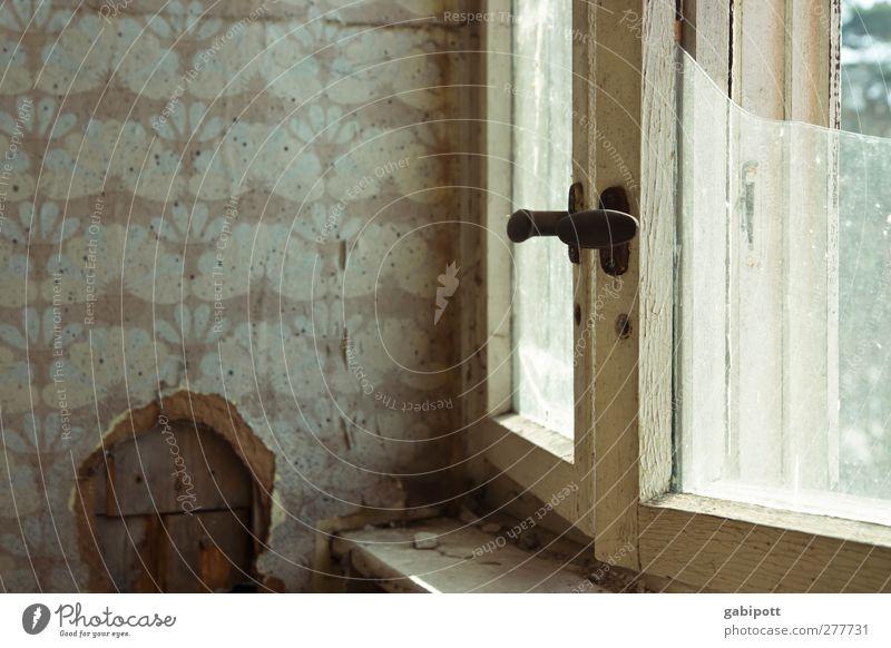 Zeit vergeht Haus Architektur Mauer Wand Fenster alt braun Traurigkeit Verbitterung Fortschritt Perspektive Verfall Vergangenheit Vergänglichkeit verlieren