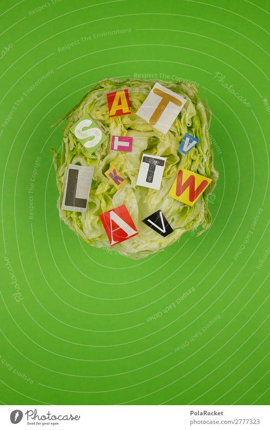 #A# BuchstabenSalat Kunst Kunstwerk ästhetisch Salatbeilage Salatblatt Salatkopf Eisbergsalat grün Gesunde Ernährung Farbfoto Gedeckte Farben mehrfarbig