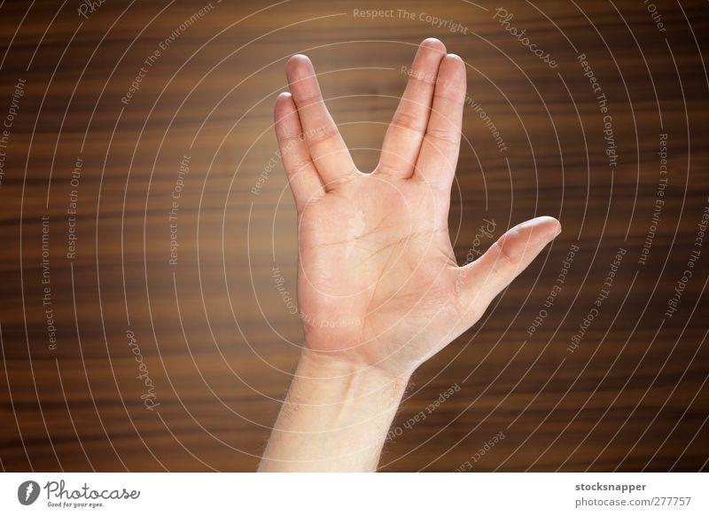 Geek Salute vulkanisch Gruß salutieren Hand Finger Wanderung Lücke gestikulieren Stern Freak Streber Trekkie Scifi Sci-Fi Star Trek