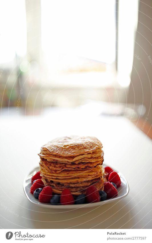 #A# Pancake-Window Kunst ästhetisch Speise Pancake Rocks Himbeeren Blaubeeren Frühstück Frühstückstisch Frühstückspause Farbfoto Gedeckte Farben Innenaufnahme