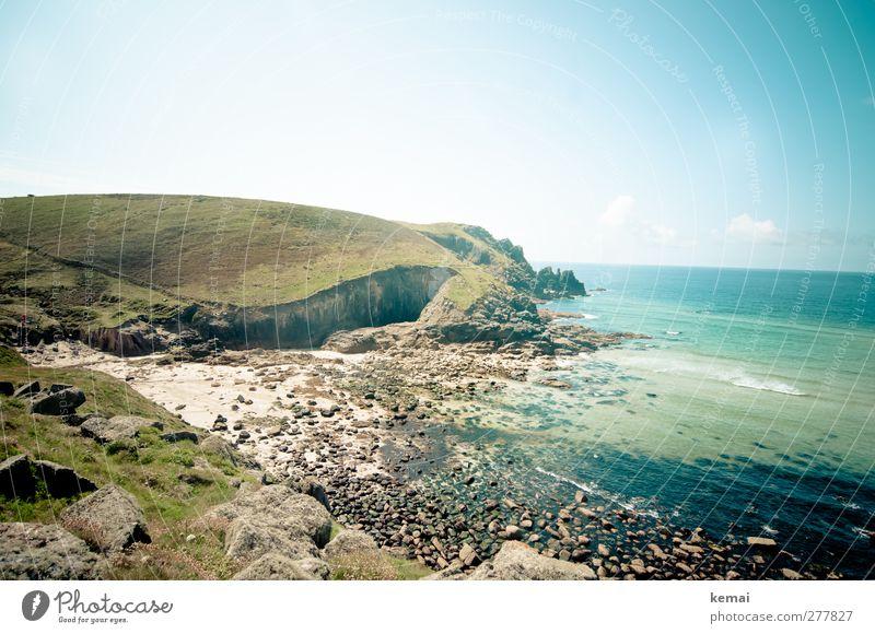Nanjizal Beach Himmel Natur Wasser Ferien & Urlaub & Reisen Sommer Sonne Meer Strand Wolken Landschaft Umwelt Wärme Küste Freiheit Stein Felsen
