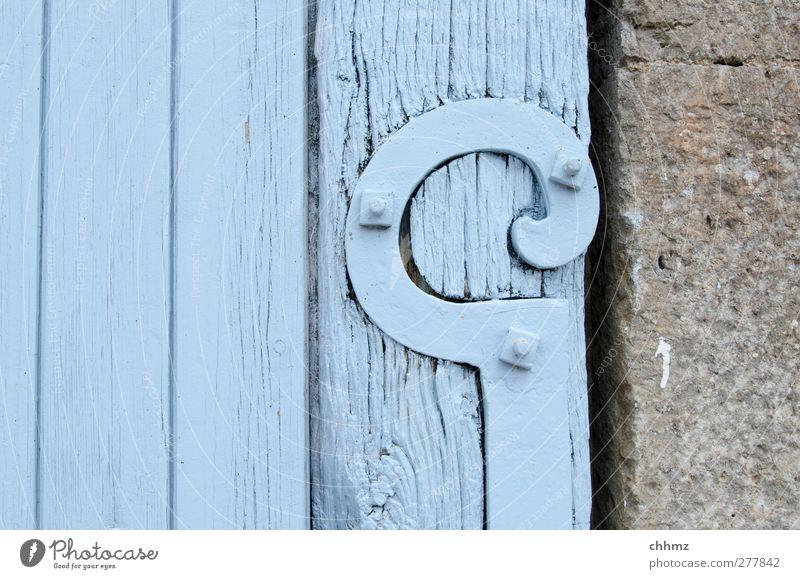 Beschlag Stein Holz Metall alt blau grau Beschläge historisch Tor Tür Schraube Kalkstein Holzbrett Maserung hell-blau Zierde Dekoration & Verzierung haltend