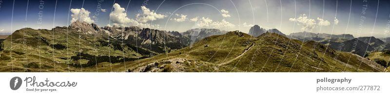 Endlose Weiten (II) Mensch Himmel Natur Jugendliche Sommer Pflanze Wolken Erwachsene Landschaft Wiese Berge u. Gebirge Gras Freiheit Menschengruppe Horizont
