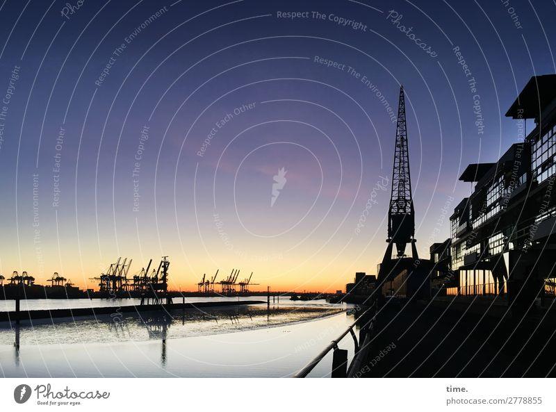 In der Ferne ist noch Licht Arbeitsplatz Wirtschaft Güterverkehr & Logistik Kran Himmel Horizont Winter Schönes Wetter Flussufer Hamburg Hamburger Hafen Haus